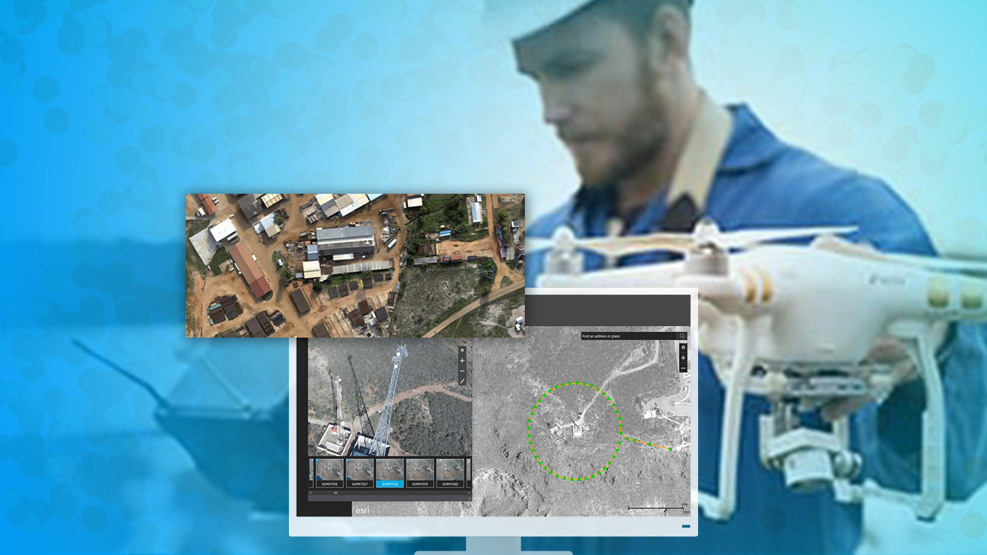 Operador de dron, monitor y capturas de pantalla de software Drone2Map for ArcGIS.